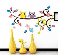 Наклейка виниловая Сова на ветке 3D декор