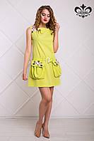 Женское летнее платье Мелисса зеленое яблоко Luzana 42-50 размеры