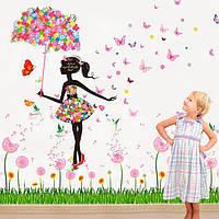 Наклейка виниловая Цветочная фея с зонтиком 3D декор