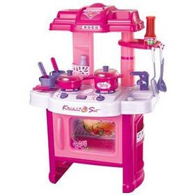 Кухня детская розовая с посудой со светом и звуком