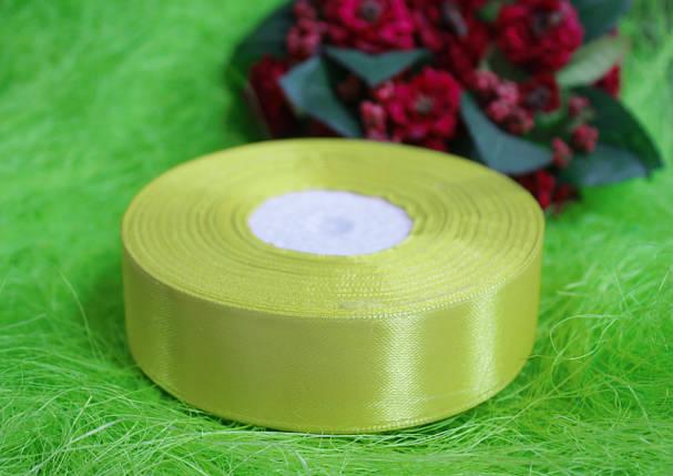 Лента атласная светло- желтая 25 мм, моток 33 м., фото 2