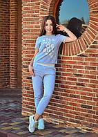 Спортивный костюм женский летний футболка и укороченые штаны капри