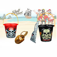 Набор для песочницы 790AB  пиратский, ведерко, 2вида(лопатка,грабли),17-16-16см