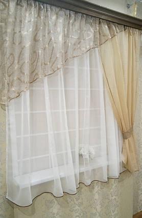"Кухонные шторы ""Намиб"", тёмный беж , фото 2"