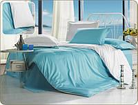Полуторное атласное постельное бельё Бирюзово-белое
