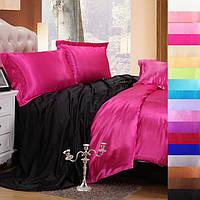 Полуторное атласное постельное бельё Малиново-чёрное