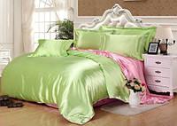Полуторное атласное постельное бельё Оливково-розовое