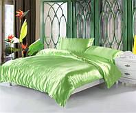 Полуторное атласное постельное бельё Оливковое