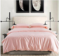 Полуторное атласное постельное бельё Персиковое