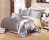Полуторное атласное постельное бельё Серебряно-золотое