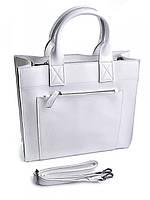 Деловая женская белая сумка из кожи 8896