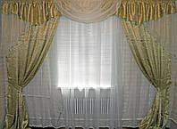 Комплект ламбрекен (№50) с шторами на карниз 2,5-3м. 050лш115