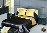 Семейное атласное постельное бельё Чёрно-золотое