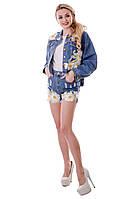 Модные женские джинсовые шорты с аппликацией ромашка высокая посадка тренд 2017 года