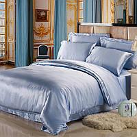 Полуторное атласное постельное бельё Голубое