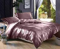 Полуторное атласное постельное бельё Лиловое