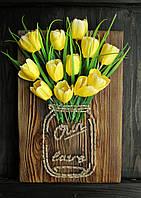 "Панно ""Цветы в банке"" картина стринг-арт"
