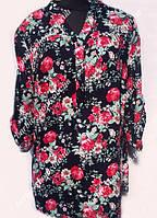 Женская туника с цветочным узором 16555,размер 50-56