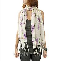 Женский легкий шарф белый с лилиями