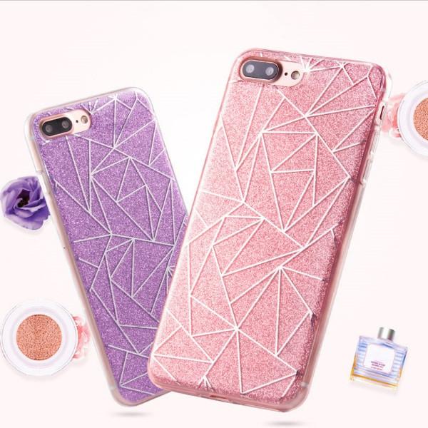 Чехол для iPhone 7 Plus геометрия с блестками