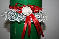 Подвязка невесты с красным лентой, фото 1