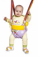 Детские прыгунки-2, с валиками-подлокотниками, безопасные, из натуральной ткани, до 15 кг, фото 1