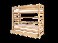 Деревянная двухъярусная кровать для подростков на 3 спальных места из массива бука (спальное место 80х190 см) ТМ WoodMan