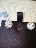 Серьги серебряные гвоздики с камнями сваровски