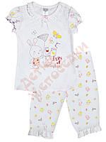"Пижама для девочки с коротким рукавом""Лето на лужайке. Зверюшки"" ""Smil"", белый, 80(68-86), 80 см"