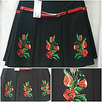 Модная вышитая юбка черного цвета, 42-46 р-ры, 325/265 (цена за 1 шт. + 60 гр)