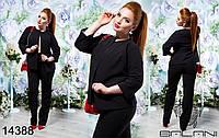 Женский костюм пиджак и брюки большого размера, черного цвета (р.48-52)
