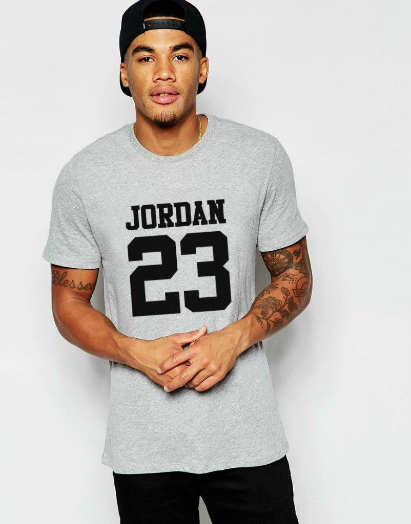 Мужская Футболка Jordan 23 серого цвета