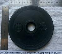 Блин гантельный металлический, обрезиненный под гриф ф 25 Р=1кг, толщина -14мм, Ф155х25     9506919000