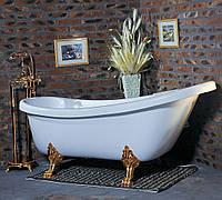 Ванна акриловая овальная Wisemaker 165х78х73 WA-1708-B белая + львиные ноги (gold)