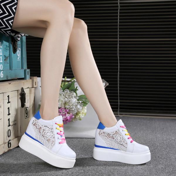 Женские кроссовки на платформе сетка
