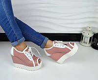 Стильные кожаные  летние ботинки с перфорацией и открытым носком на платформе, цвет розовый