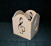 Декоративна коробка з дерева 11,4*13 Коробка из дерева Скрипичный ключ