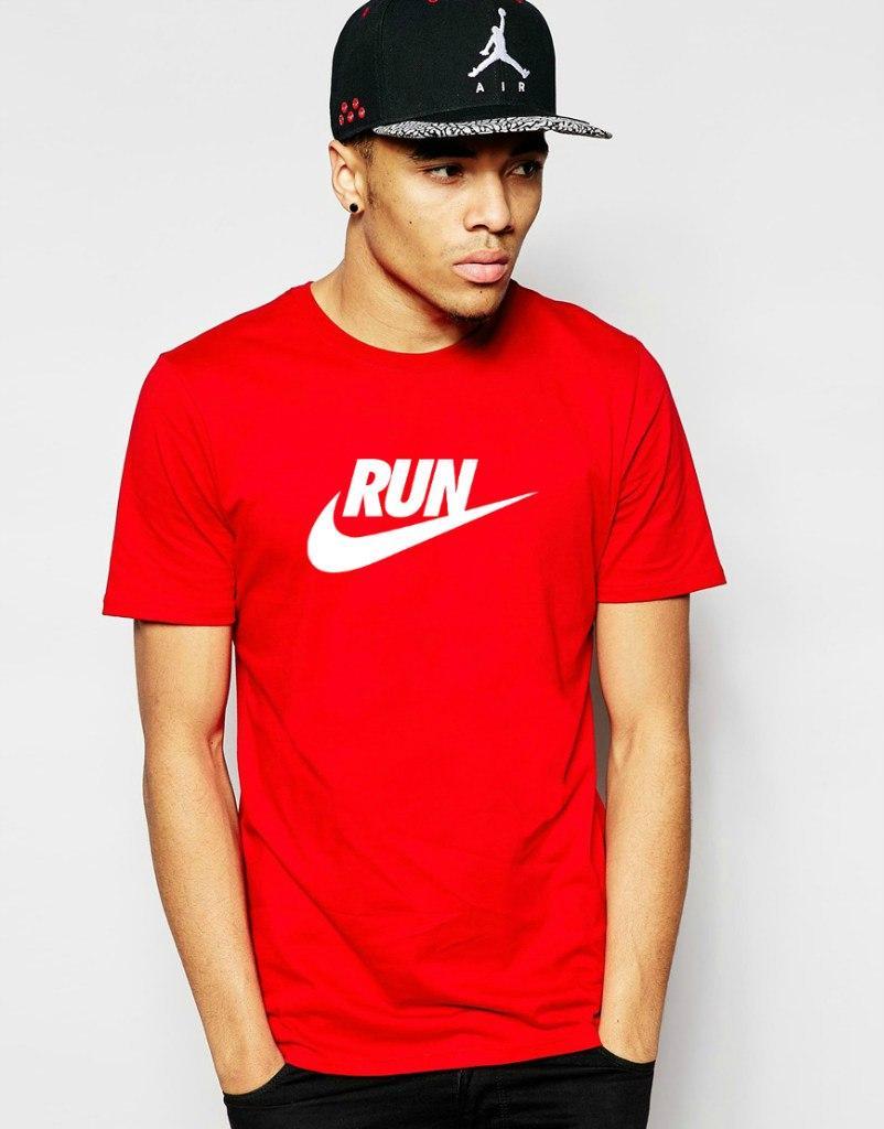 Мужская Футболка Nike Run красного цвета с белым логотипом