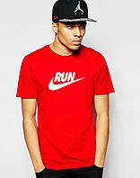 Мужская Футболка Nike Run красного цвета с белым логотипом, фото 1