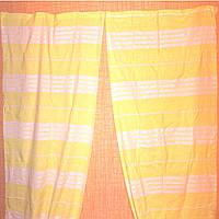Желтые шторы в белые полосы 91х243см, лен