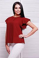 Легкая шифоновая блуза бордового цвета с планкой и  рукавами-крыльями