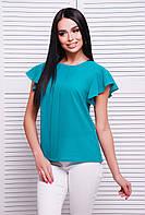 Легкая шифоновая блуза бирюзового цвета с планкой и  рукавами-крыльями
