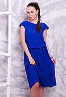 Офисное летнее шифоновое платье до колена цвета электрик