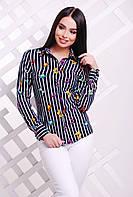 Классическая темно-синяя блузка в полоску с ярким принтом Бабочки