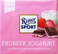 "Ritter Sport ""ERDBEER JOGHURT"" молочный шоколад с начинкой (Германия) 100 г - РИТЕР СПОРТ КЛУБНИКА ЙОГУРТ"