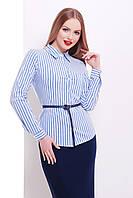 Женская классическая блузка в синюю полоску блуза Рубьера д/р