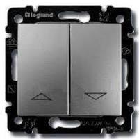 Выключатель для жалюзи с электрической блокировкой, алюминий, Legrand Valena Легранд Валена