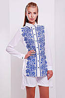 Белая блузка с темно-синим узором по полочке Узор синий блуза Джована д/р