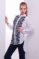Стильная женская блузка с ассиметричным удлиненным низом и кружевным принтом Узор черный блуза Джована д/р