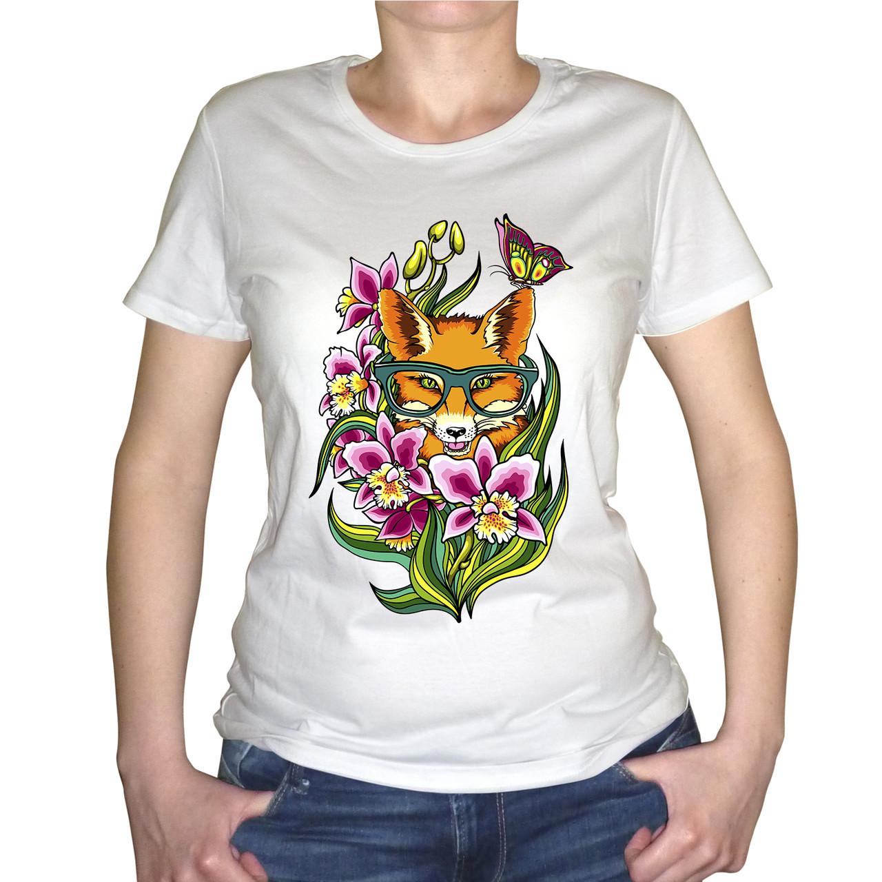 """Женская футболка """"Лиса в цветах"""""""